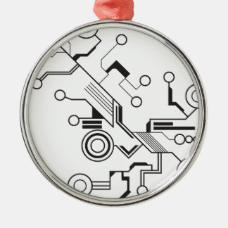 Circuit Silver-Colored Round Decoration