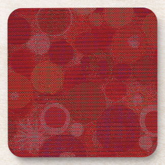 Circular Abstract with Reds on Coaster Set