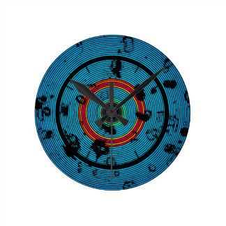 Circular Blue Abstract Pattern Round Clock