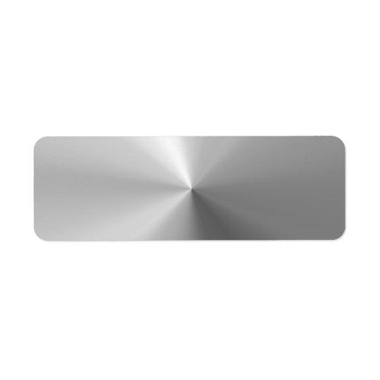 Circular Brushed Aluminium Textured Return Address Label