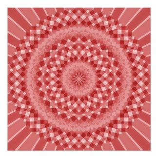 Circular Checkered Pattern - Red and White Art Photo