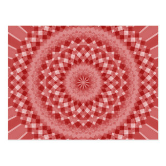 Circular Checkered Pattern - Red and White Postcard