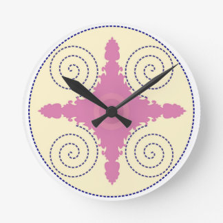 Circular Design Motif Template for Custom Text Round Clock