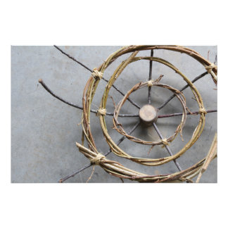 Circular Eco-Art Sculpture of Vines & Wood Closeup Photo Print