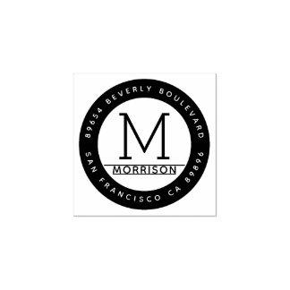 Circular Frame | Custom Monogram Return Address Rubber Stamp