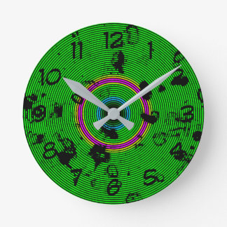 Circular Green Abstract Pattern Round Clock