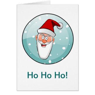 Circular Ho Ho Ho! Santa in Teal Greeting Card