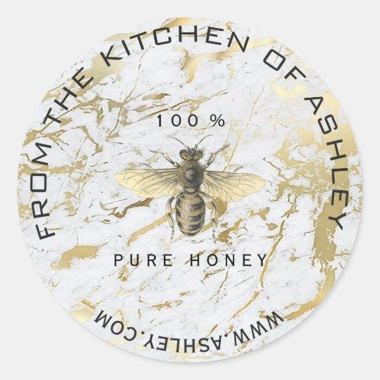 Circular Homemade Honey Kitchen Marble Bee Web Nam Classic Round Sticker