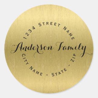 Circular Modern Faux Gold Return Address Label