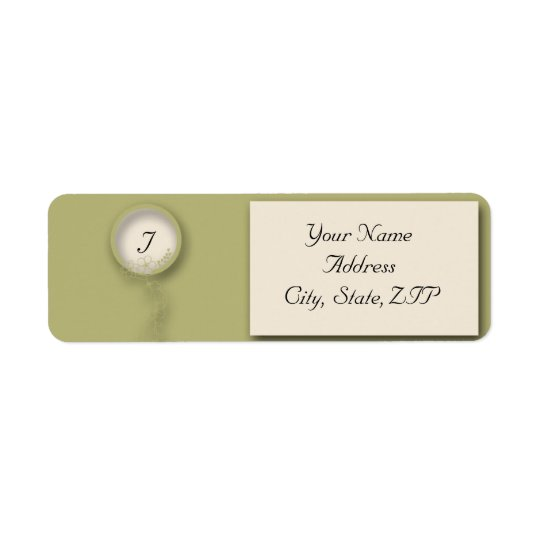 Circular Monogram  Flowered Seal Green and Cream Return Address Label