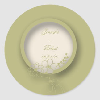 Circular Monogram Flowered Seal in Green and Creme Round Sticker