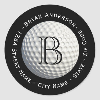 Circular Monogram Golf Ball Return Address Label