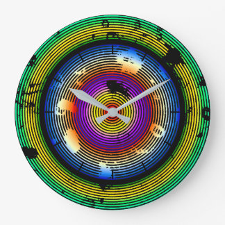 Circular Multicolored Abstract Pattern Large Clock