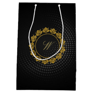 Circular Pattern Monogram on Black Circular Medium Gift Bag