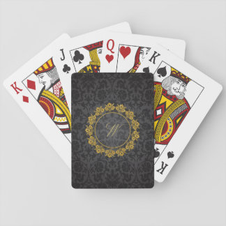 Circular Pattern Monogram on Black Damask Playing Cards