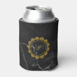 Circular Pattern Monogram on Black Marble Can Cooler