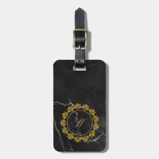 Circular Pattern Monogram on Black Marble Luggage Tag