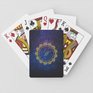 Circular Pattern Monogram on Blue Galaxy Playing Cards