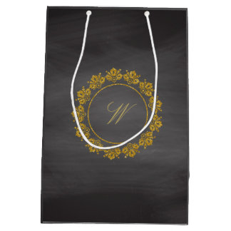 Circular Pattern Monogram on Chalkboard Medium Gift Bag