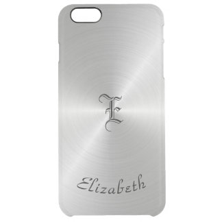 Circular Polished Metal Texture, Personalized Clear iPhone 6 Plus Case