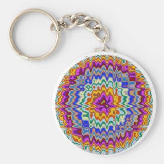 Circular rainbow waves basic round button key ring