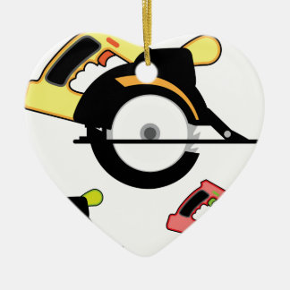 Circular saw isolated ceramic ornament