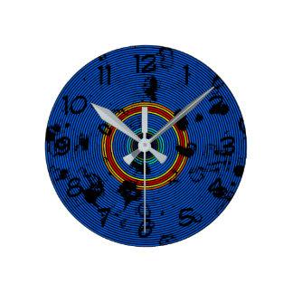Circular Sky Blue Abstract Pattern Round Clock