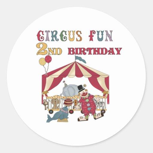 Circus 2nd Birthday Round Sticker