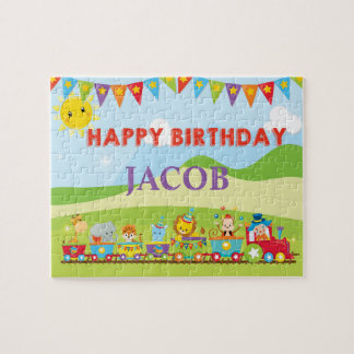 Circus Animal Birthday Train Custom Name Puzzle
