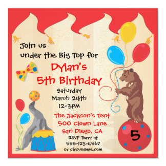 Circus Animals Birthday Party Invitation Card
