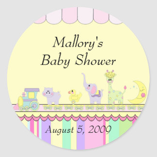Circus Baby Train Baby Shower Round Sticker