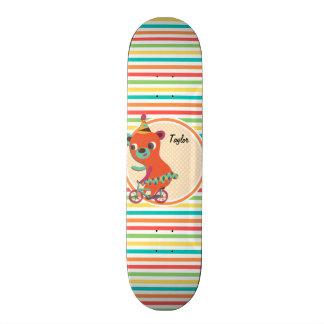 Circus Bear Bright Rainbow Stripes Skate Board Deck