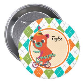 Circus Bear on Colorful Argyle Pattern Pinback Button