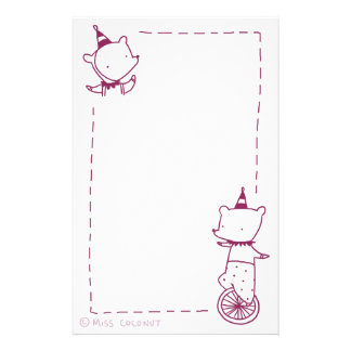 Circus Bears - Unicycle & Party Hats (purple) Personalized Stationery