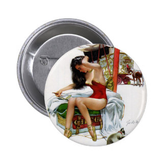 Circus Beauty Vintage Art Pin-Up Girl 6 Cm Round Badge