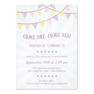 "Circus Birthday Party 5"" X 7"" Invitation Card"