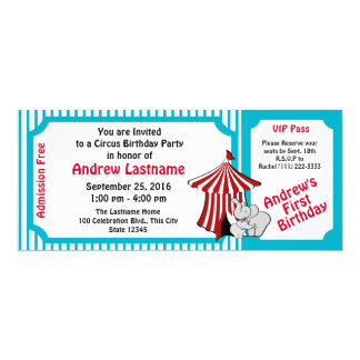 Circus Birthday Pass Card