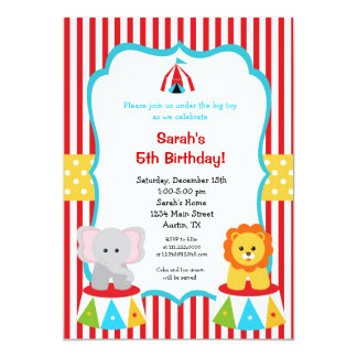 Circus Carnival Big Top Birthday Invitations