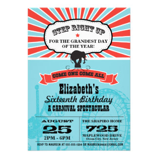 Circus Carnival Birthday Personalized Invites