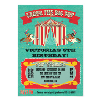 "Circus Carnival Birthday Party Invitation 5"" X 7"" Invitation Card"