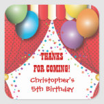 Circus Carnival Birthday Thank You Sticker