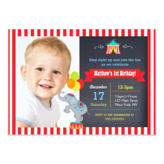 Circus Carnival Chalkboard Birthday Invitations