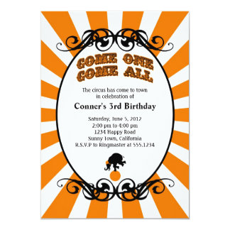 Circus Carnival Invitation Orange