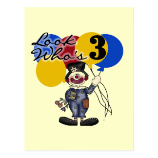 Circus Clown 3rd Birthday Tshirts and Gifts Postcard
