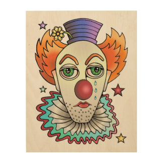 Circus Clown Wood Wall Art