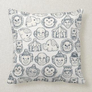 circus cookies indigo ivory throw pillow