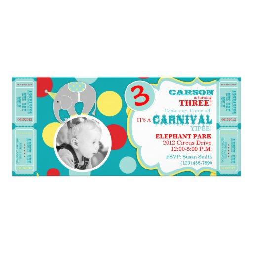 Circus Elephant Birthday Invitation
