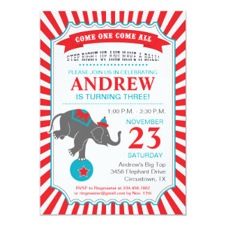 Circus Elephant Birthday Party 13 Cm X 18 Cm Invitation Card