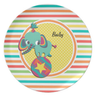 Circus Elephant; Bright Rainbow Stripes Party Plates