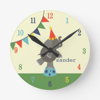 Circus Elephant & Flags Clock (Blue / Orange)